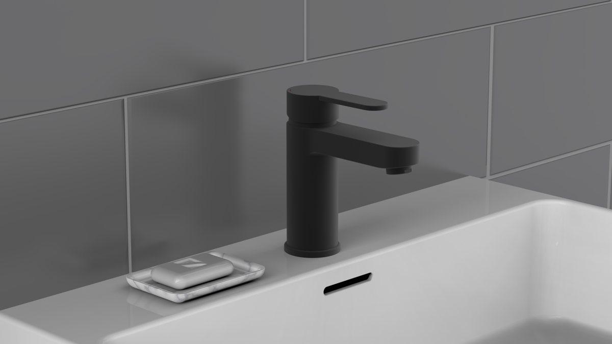 Ein Einhand Waschtischmischer in Schwarz