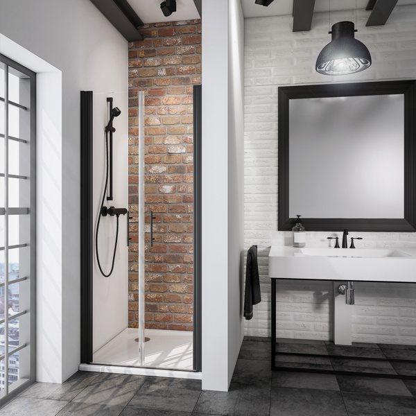 Beispielbild von Schulte Alexa Style 2.0 Black Style Pendeltür in Nische Klarglas mit schwarzen Akzenten in einer Dusche