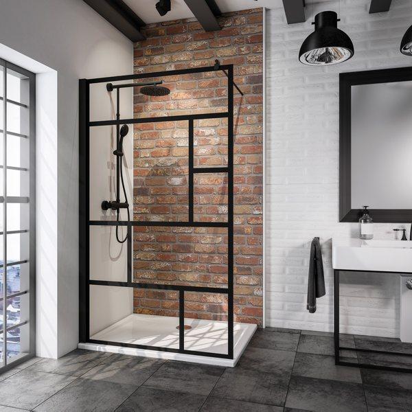 Beispielbild von Schulte Alexa Style 2.0 Black Style Walk-In Loft 1-teilig mit schwarzen Akzenten in einer Dusche
