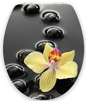 MDF Holzkern WC-Sitz Orchidee und Steine mit Absenkautomatik Orchidee und Steine