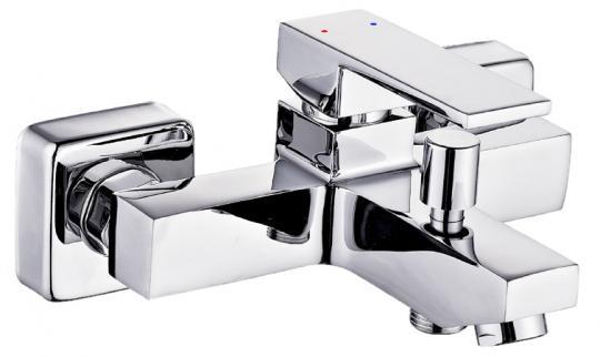 Einhand-Badewannenarmatur eckig chrom glänzend