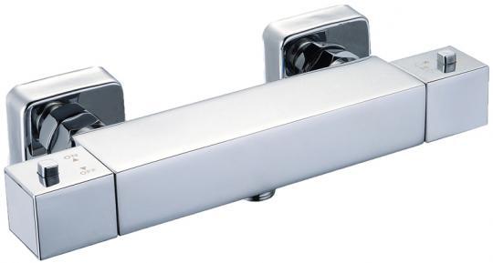 Aufputz Thermostatarmatur Dusche eckig chromoptik