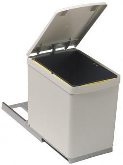 Einbau-Abfalleimer eckig 1x16 Liter grau/silber