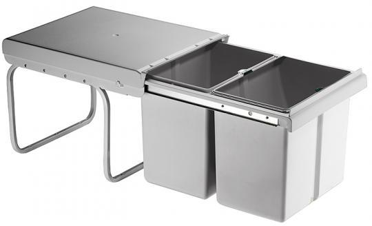 Einbau-Abfallsammler eckig 2x15/1x15 + 2x7,5 Liter grau
