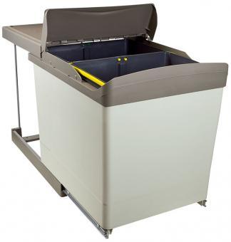 Einbau-Abfallsammler eckig 2x21 Liter grau