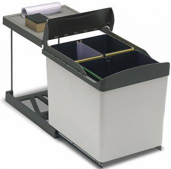 Einbau-Abfallsammler eckig 1x16 + 2x7,5 Liter grau