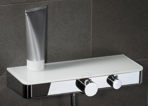 Design Duschthermostat eckig mit Glasablage weiß