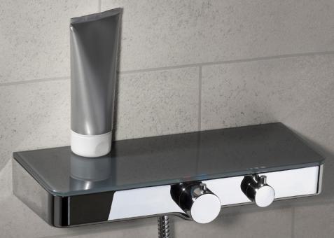 Design Duschthermostat eckig mit Glasablage anthrazit