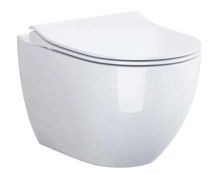 Keramik Tiefspül-WC wandhängend Harmony antibakteriell spülrandlos mit WC-Sitz