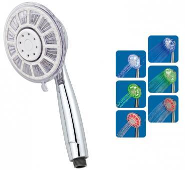 LED-Duschkopf Ø 100 mm mit Temperaturanzeige 3 Strahlarten Antikalk