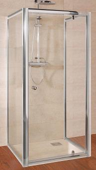 Schulte U-Duschkabine Kristall/Trend Drehtür mit 2 Seitenwänden