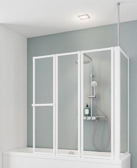 Schulte D1511 Wannenaufsatz 3-teilig mit Seitenwand 720-750mm Echtglas klar, Profilfarbe alunatur