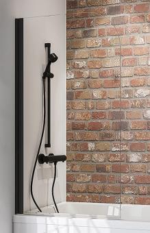 Schulte Badewannenaufsatz Black Style 1-teilig 1400x800 mm Klarglas