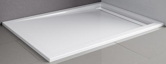 Schulte Acryl Rechteck-Duschbecken extra flach mit Rinne 70 mm 800x1200 mm, Rinnenabdeckung alpinweiß