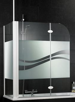 Schulte D3380 Badewannenfaltwand 2-tlg. mit Seitenwand 680-700 mm Dekorglas Liane, Profilfarbe alunatur