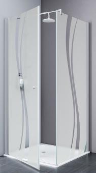Schulte Alexa Style 2.0 Drehtür mit Seitenwand Echtglas Liane mit Glassiegel