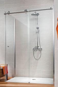 Schulte Duschkabine MasterClass Gleittür mit Seitenwand Klarglas mit Glassiegel