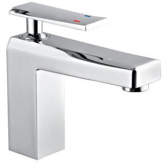 Design Waschtisch-Einhandmischer eckig chrom