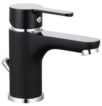 Einhebel Waschbeckenarmatur matt schwarz/chrom