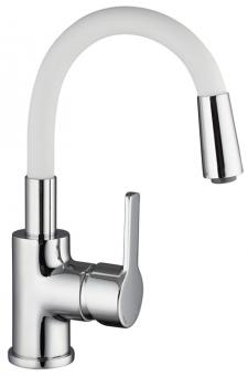 Einhand Waschtischarmatur flexibler Bogenauslauf matt weiß/chrom