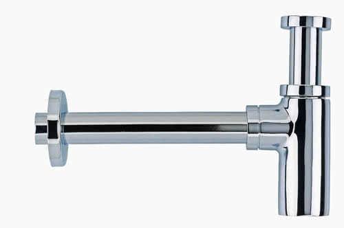 "Design  Flaschensiphon 32 x 32 mm (1 1/4"") Messing verchromt"