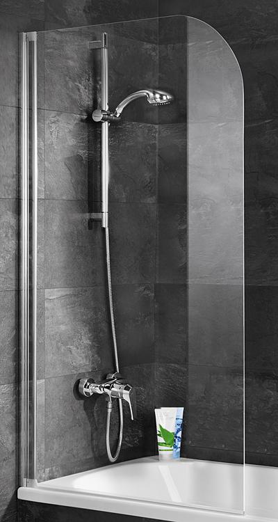 Schulte D1650 Duschwand 1-teilig 1400x800 mm Echtglas klar, Profilfarbe alpinweiß