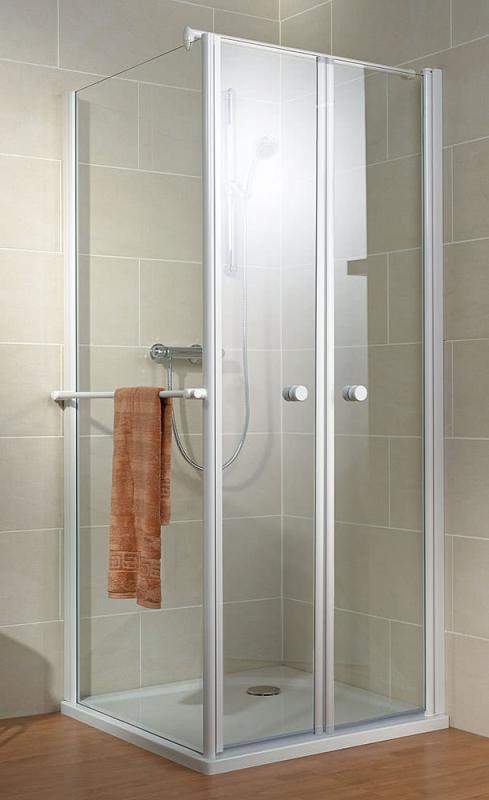 Schulte Garant Pendeltür mit Seitenwand, Klarglas mit Glassiegel, Profil alu