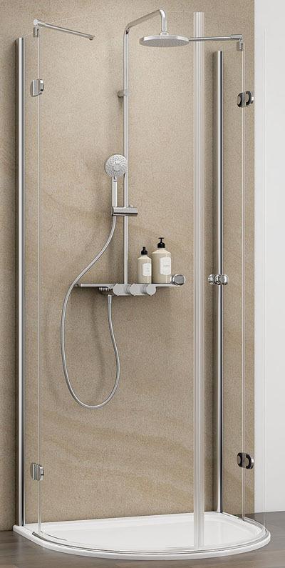 Schulte MasterClass Halbkreis Dusche Echtglas Klar