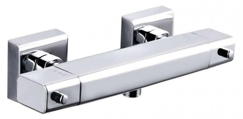 Design Thermostatarmatur Dusche eckig flach chrom
