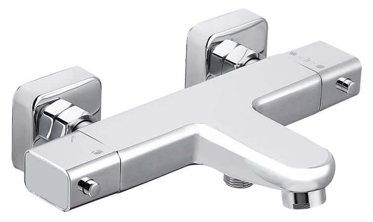 Design Thermostat Wannenarmatur eckig flach chrom