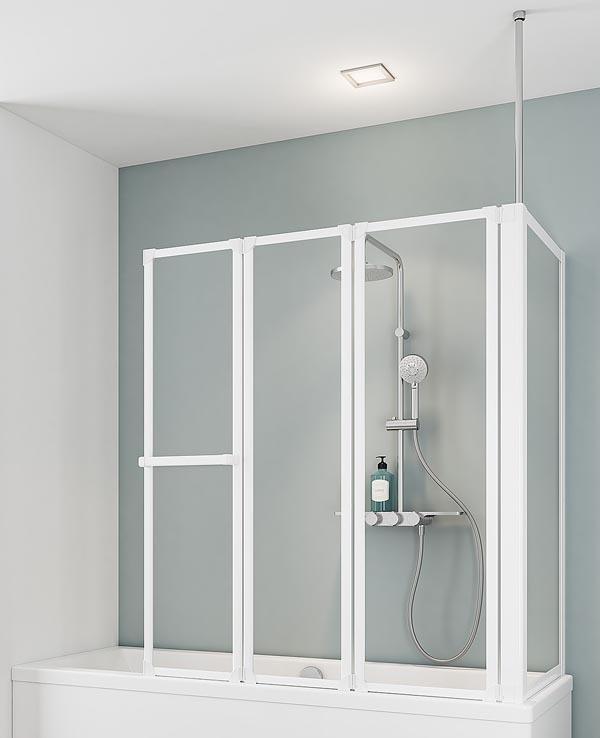 schulte d1570 3 teilige faltwand mit seitenwand 670 700mm. Black Bedroom Furniture Sets. Home Design Ideas