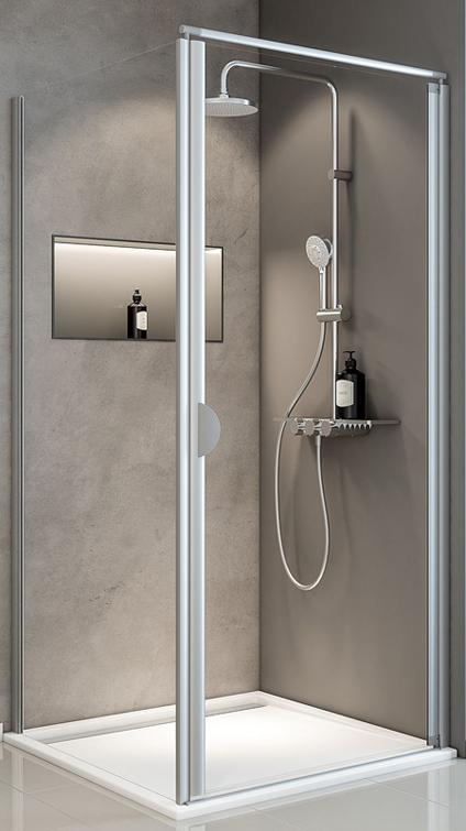 Duschkabine Sunny Drehtür mit Seitenwand ohne Glassiegel