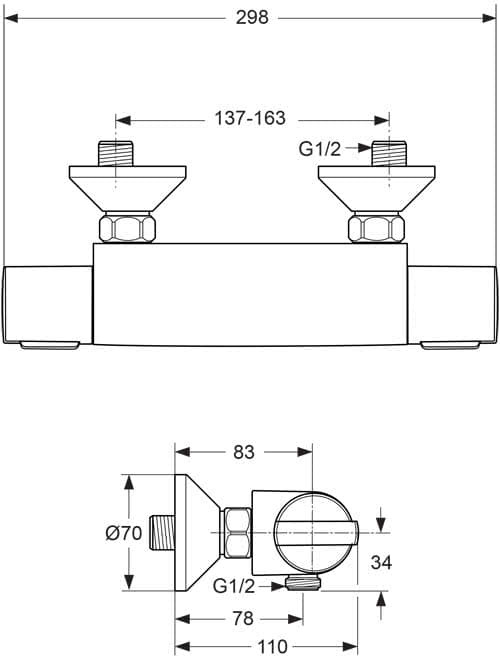 Thermostatarmatur dusche chrom ideal bw501 - Thermostatarmatur dusche ...